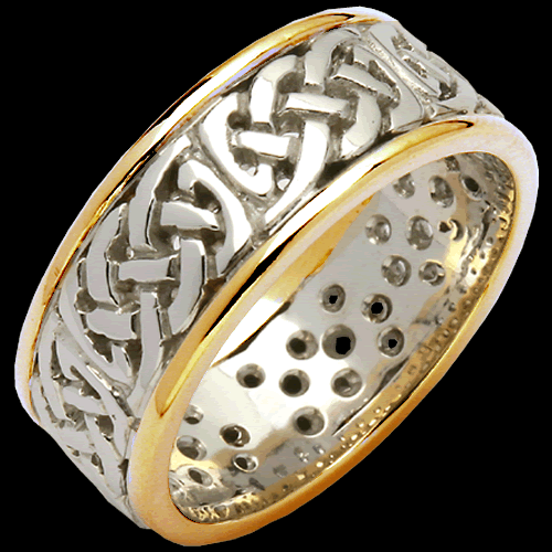 Woven Two Tone Pierced Sheelin Wedding Band
