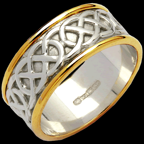 Wide Two Tone Sheelin Wedding Band