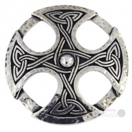 Beaten Celtic Cross Brooch