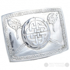 Pewter Belt Buckle - Celtic Shield with Crossed Swords