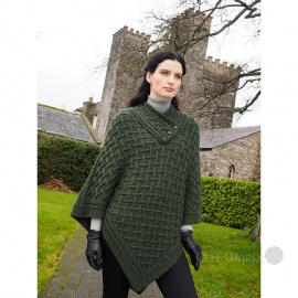 Buttoned Poncho (Extra Soft) - Moss Green