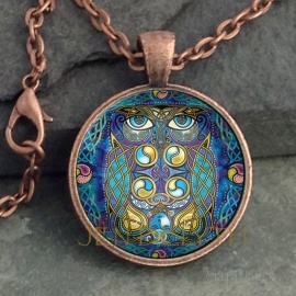Celtic Owl Round Glass Pendant