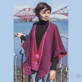 Celtic Stole - Raspberry (Wool & Irish Linen)