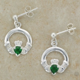 Claddagh Green CZ Drop Stud Sterling Silver Earrings