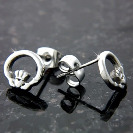 Claddagh Post Steel Earrings