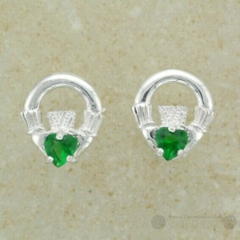 Claddagh Sterling Silver Stud Earring Green CZ