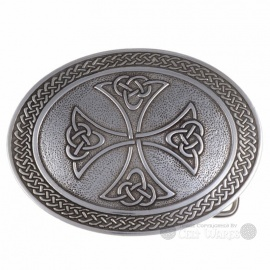 Cross with Celtic Knots Belt Buckle