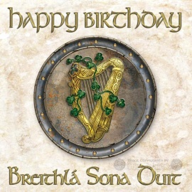Happy Birthday - Celtic Card - Gold Harp