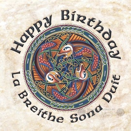 Happy Birthday - Celtic Card - Salmon of Knowledge