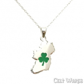 Ireland Map with Green Shamrock Silver Pendant