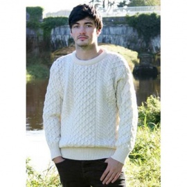 Irish Merino Aran Wool Sweater - Natural