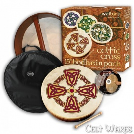 15 inch Bodhran with DVD, Case & Tipper - Celtic Cross with Trinities