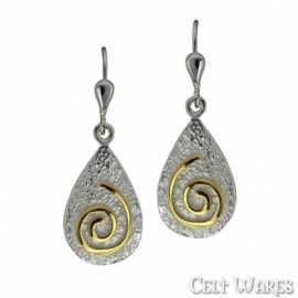 Gold Spiral on Silver Pebble Earrings