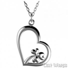 Shamrock in a Heart Pendant