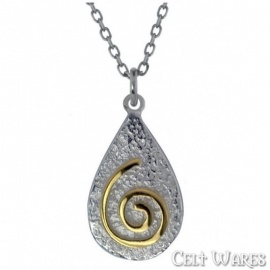 Gold Spiral on Silver Pebble Pendant
