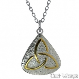 Gold Trinity on Silver Pebble Pendant