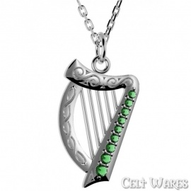 Silver Harp with Green CZs Pendant