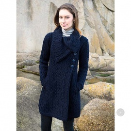 Large Collar Button Coat - Navy