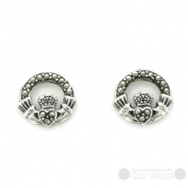 Marcasite Band Claddagh Sterling Silver Stud