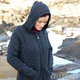 Merino Hooded Jacket with Pockets (Navy)