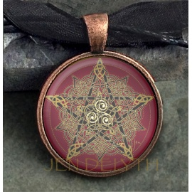 Pentagram Round Domed Pendant