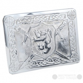 Pewter Belt Buckle - Rampant Lion Shield & Swords