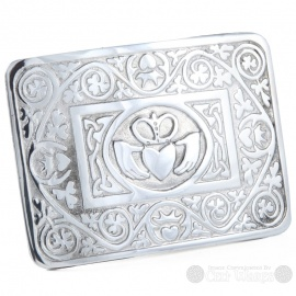 Pewter Belt Buckle - Claddagh & Shamrocks