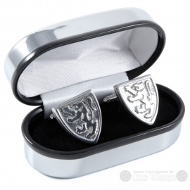 Pewter Cufflinks - Rampant Lion Shield