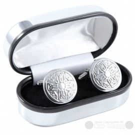 Pewter Cufflinks - Round Cross Knot