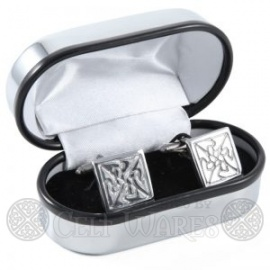 Pewter Cufflinks - Square Interlaced