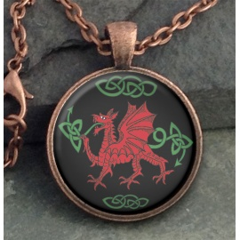 Red Dragon Round Domed Pendant
