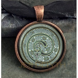 Serpent Round Domed Pendant