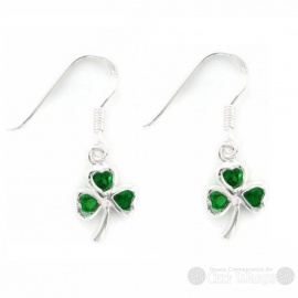Shamrock Green CZ Sterling Silver Earrings
