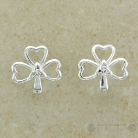 Shamrock Sterling Silver Stud with Trinity Center