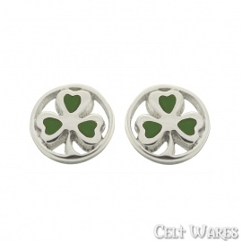 Shamrock Studs with Green Leaves in Circle