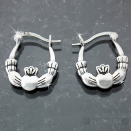 Steel Claddagh Hoop Earrings