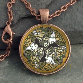Three Horses Round Domed Pendant