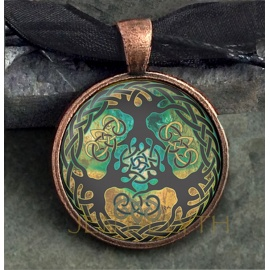 Triple Tree of Life Round Domed Pendant