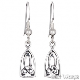 Long Lancet Trinity Silver Earrings