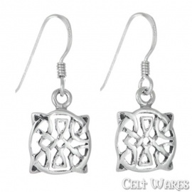 Round Pointed Celtic Knot Silver Earrings