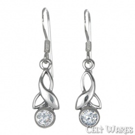 Modern Trinity White Stone Silver Earrings