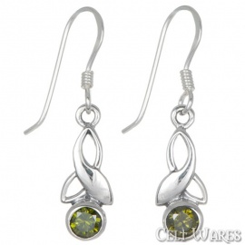 Modern Trinity Green Stone Silver Earrings