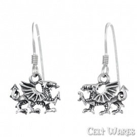 Welsh Dragon Silver Earrings