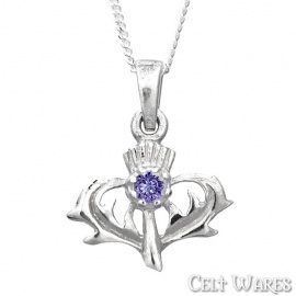 Stag Thistle with Amethyst Silver Pendant
