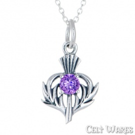 Thistle Silver Pendant with Amethyst