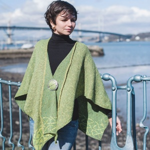 Celtic Stole - Moss Green (Wool & Irish Linen)