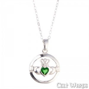 Emerald CZ Claddagh in Round Frame