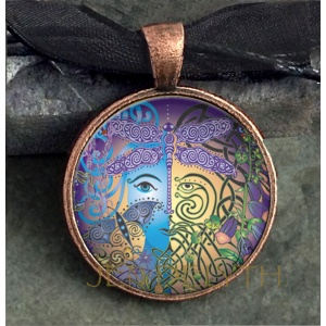 Fairy Face Round Domed Pendant