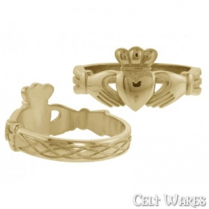 Claddagh Ring with Celtic Weave (Gold)
