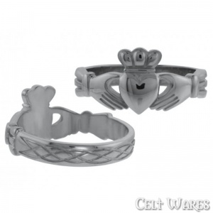 Claddagh Ring with Celtic Weave (Silver)